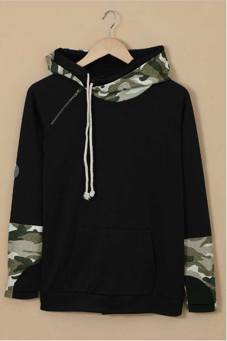 Camo Print Double Hoods Thumb Hole Hoodie black front MILK MONEY