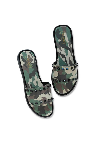 Camo Spiked Studded Slides Green MILK MONEY