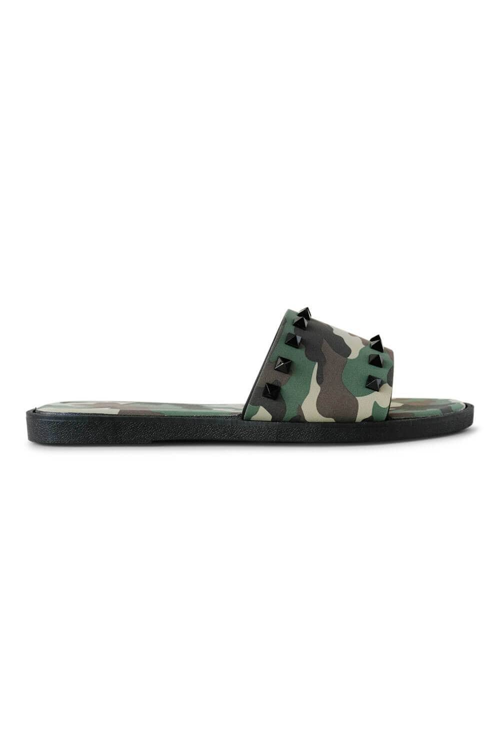 Camo Spiked Studded Slides Green side MILK MONEY