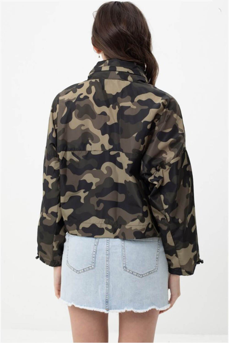 Camo Windbreaker Jacket olive back MILK MONEY