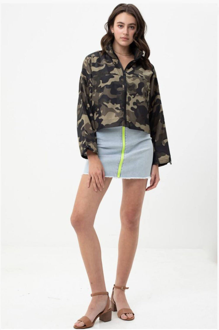 Camo Windbreaker Jacket olive full MILK MONEY