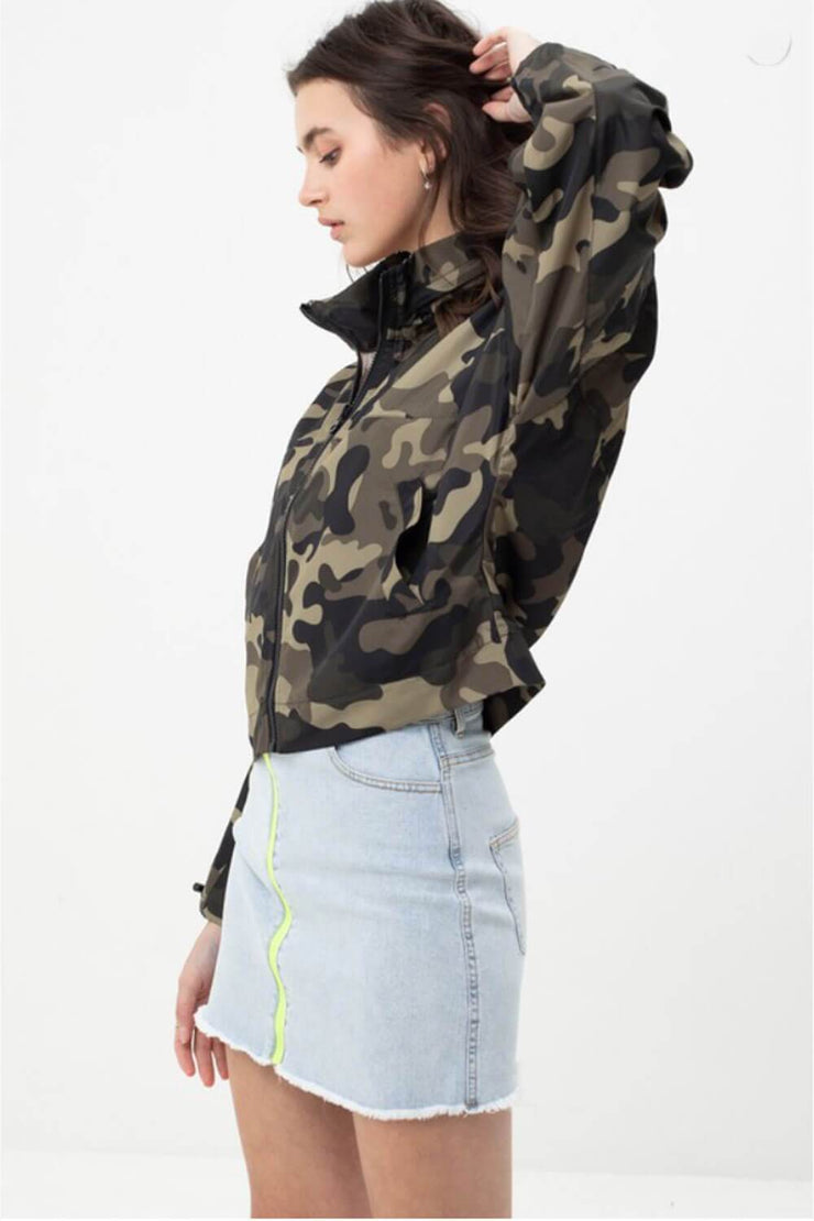 Camo Windbreaker Jacket olive side MILK MONEY