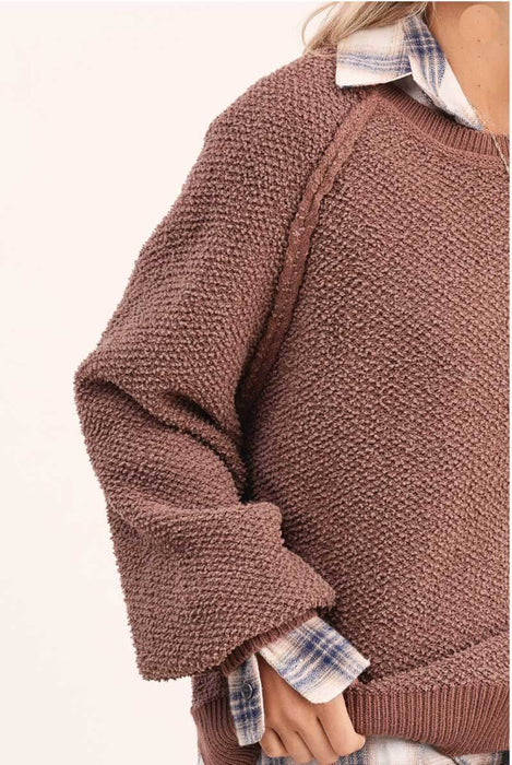 Carino Oversized Sleeve Sweater chocolate detail MILK MONEY