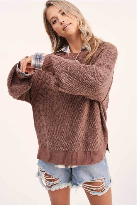 Carino Oversized Sleeve Sweater chocolate front MILK MONEY