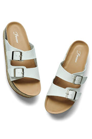 Charlotte Wedge Birk Sandal White -MILK MONEY
