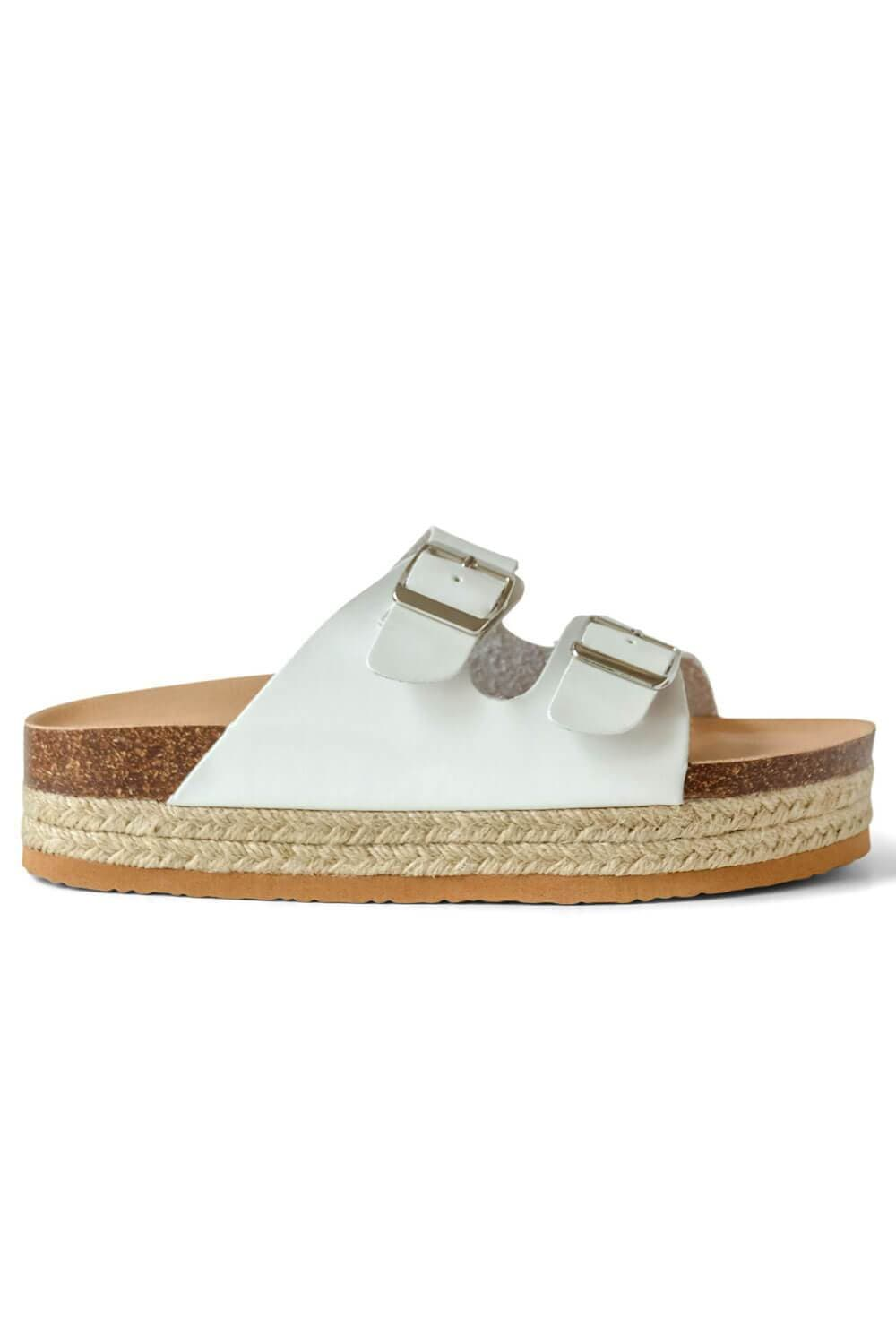 Charlotte Wedge Birk Sandal White side - MILK MONEY