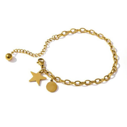 Charm Star & Round Pendant Chain Bracelet gold MILK MONEY