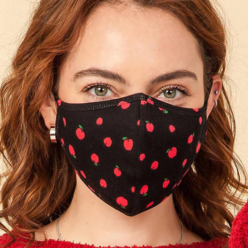 Cherry Fashion Face Mask black model MILK MONEY
