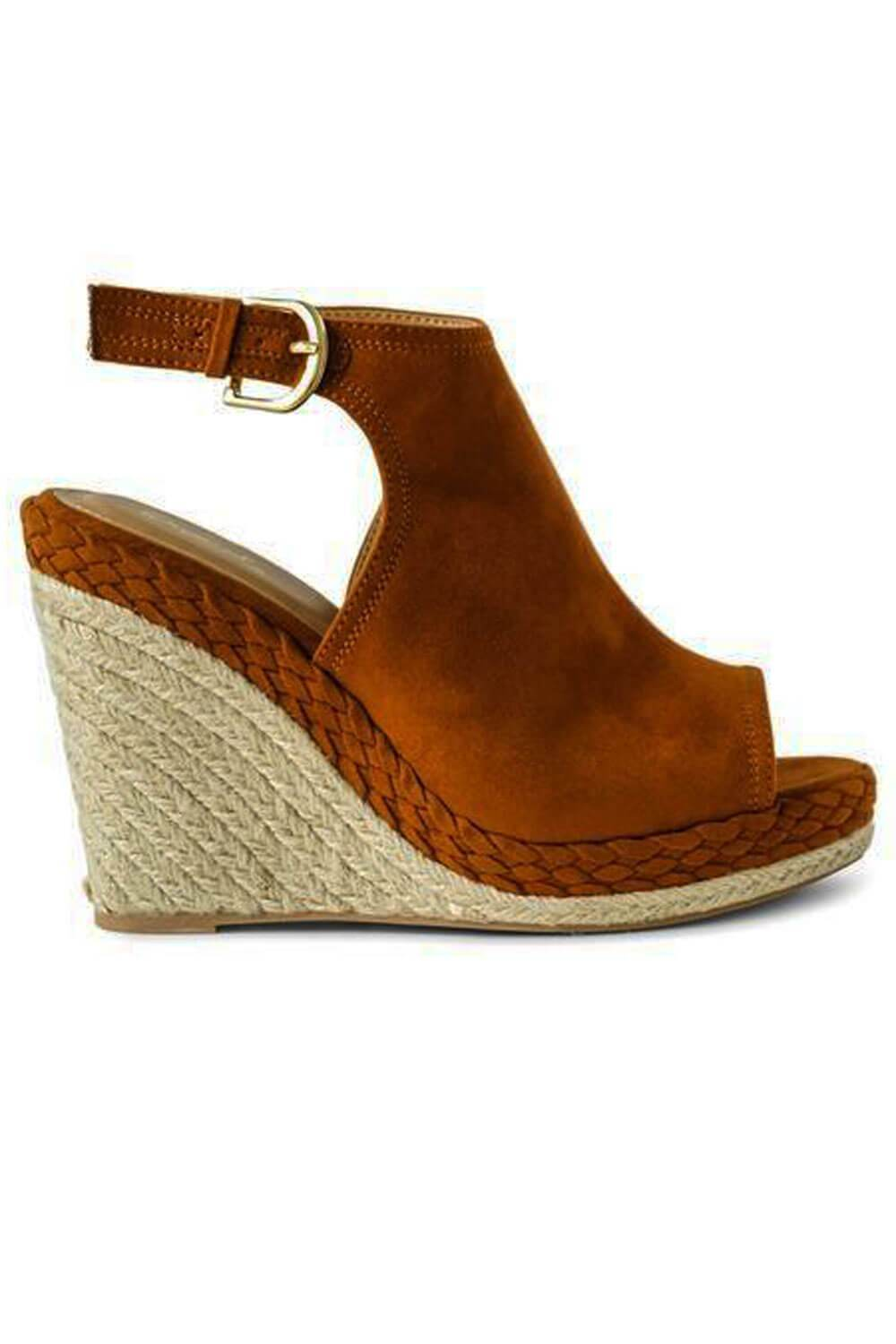 Chestnut Suede Slingback Wedge side - MILK MONEY