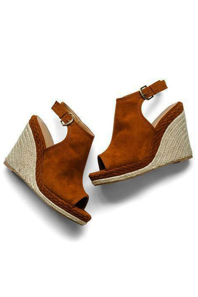 Chestnut Suede Slingback Wedge - MILK MONEY