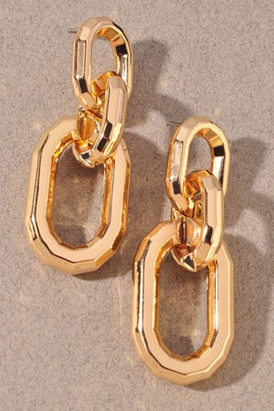 Chunky Oversized Drop Chain Earrings gold MILK MONEY