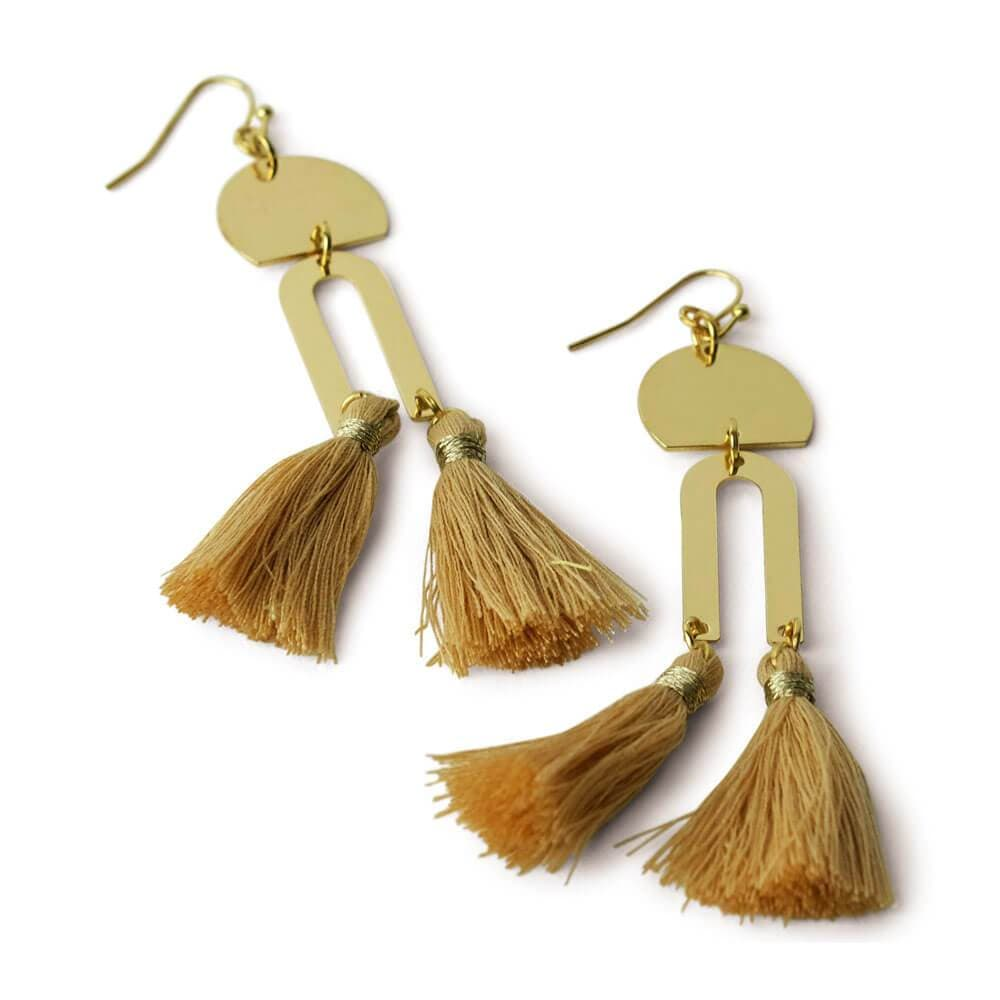 Cici Gold Drop Fringe Earrings peach - MILK MONEY
