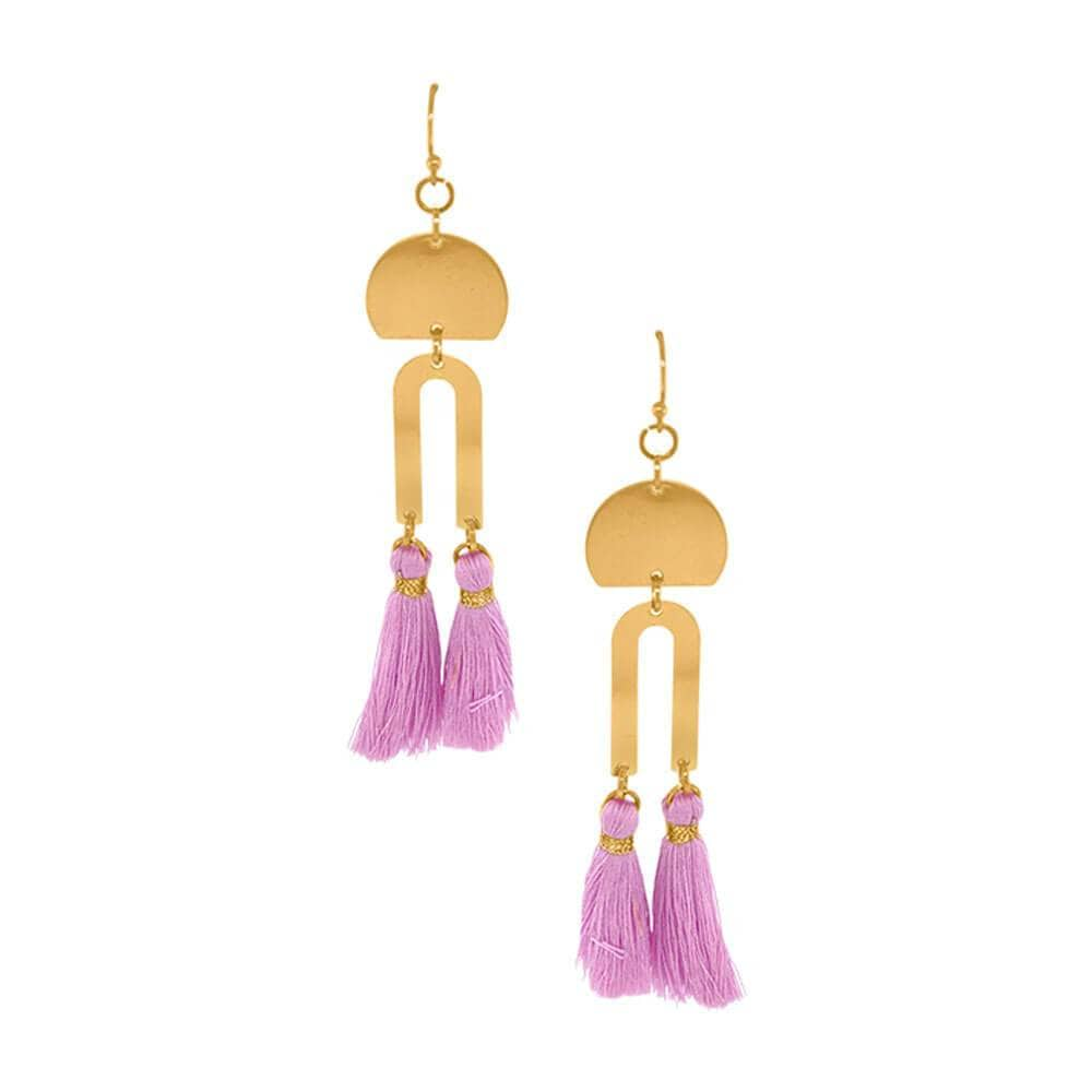 Cici Gold Drop Fringe Earrings lavender gold MILK MONEY