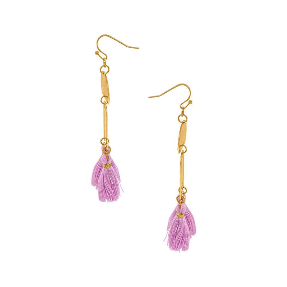 Cici Gold Drop Fringe Earrings lavender gold side MILK MONEY