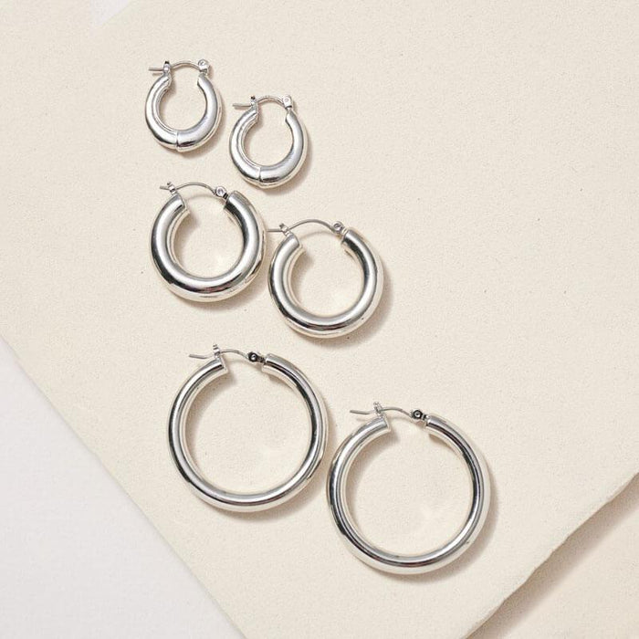 Classic 3 Style Hoop Set silver MILK MONEY
