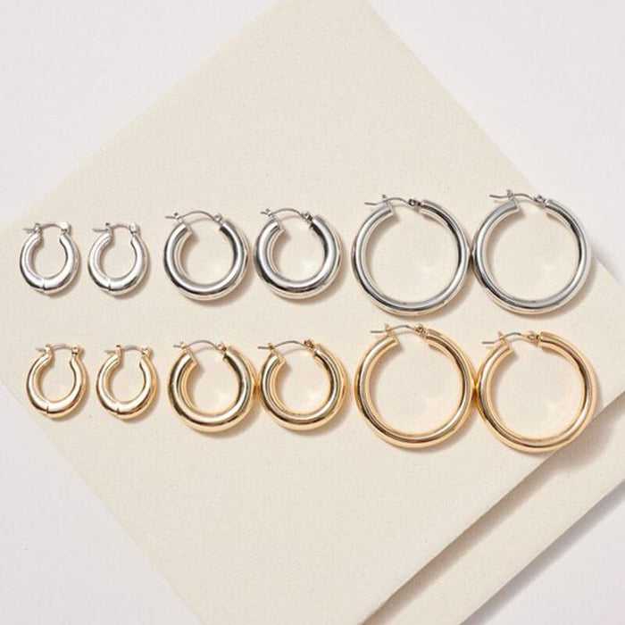 Classic 3 Style Hoop Set silver gold group MILK MONEY