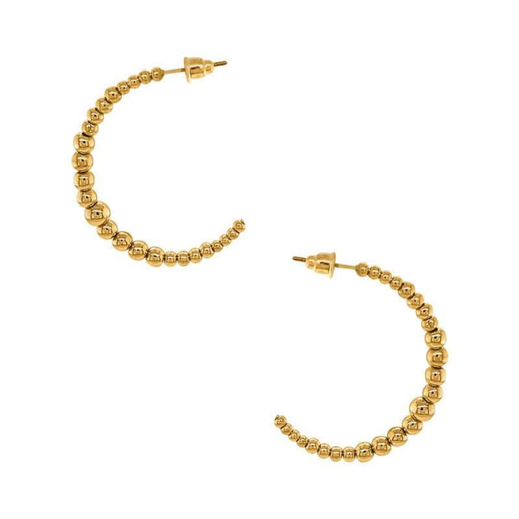 Classic Ball Hoop Earrings gold side MILK MONEY