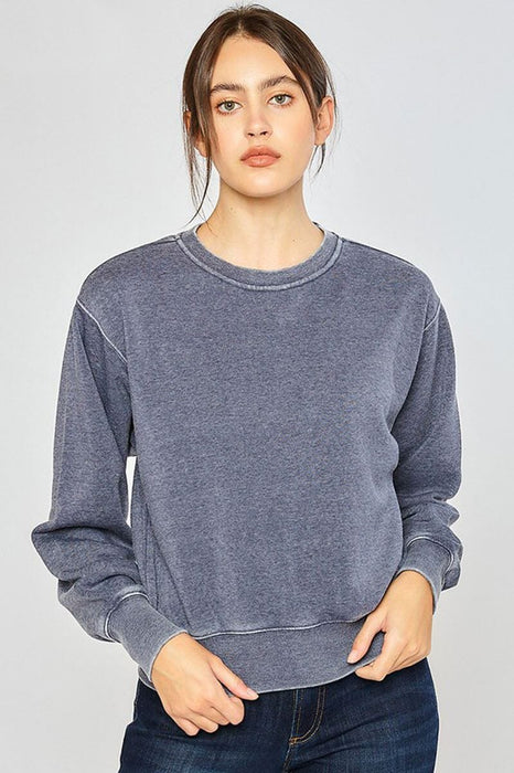 Classic Burnout Crewneck Sweatshirt blue front MILK MONEY
