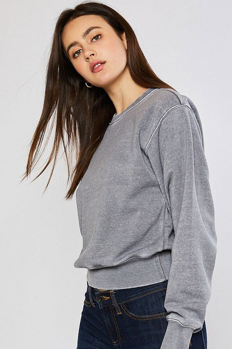 Classic Burnout Crewneck Sweatshirt heather grey side MILK MONEY