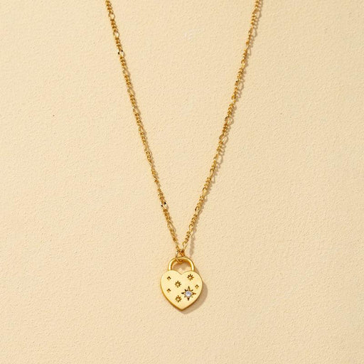 Classic Diamond Heart-Shaped Pendant Necklace gold front | MILK MONEY | milkmoney.co