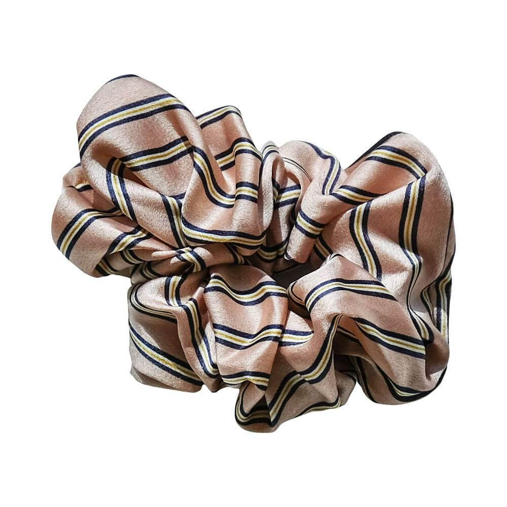Classic Silk Striped Scrunchie Pink MILK MONEY