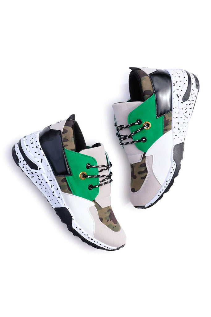 Coco Patchwork Sneakers Camo Green MILK MONEY