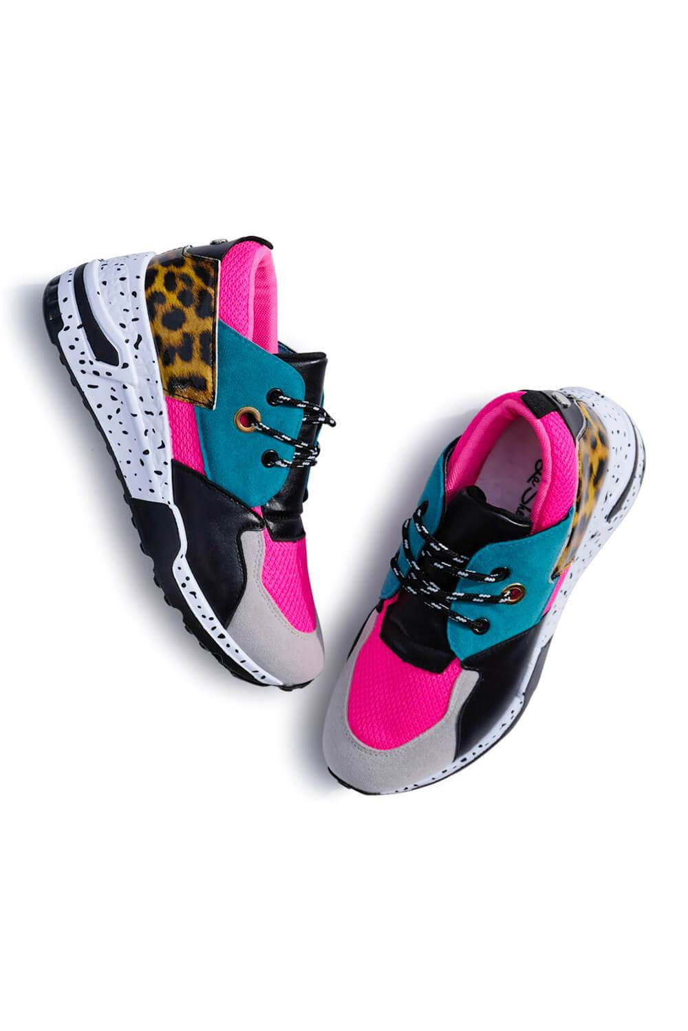 Coco Neon Patchwork Sneakers Hot Pink Leopard MILK  MONEY