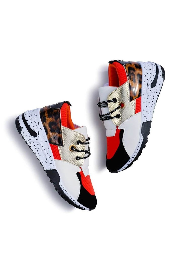 Coco Patchwork Sneakers Orange Leopard MILK MONEY