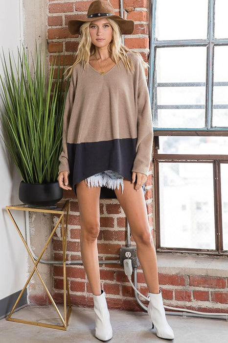 Color Block Soft Brushed Long Sleeves Top camel full MILK MONEY