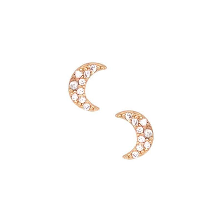 Crescent Moon Pave Stud Earrings gold front MILK MONEY