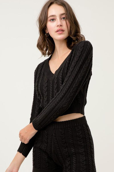 Cropped Cable Knit Sweater black side MILK MONEY