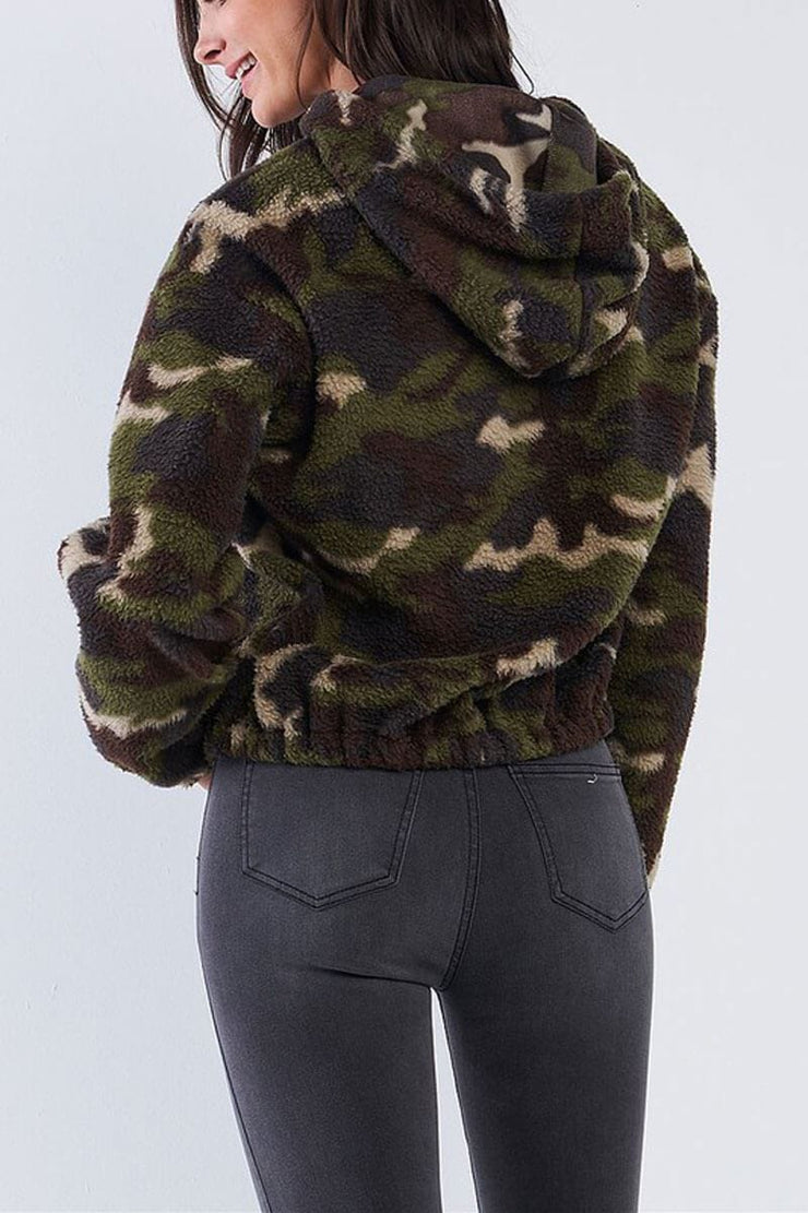 Cropped Camo Sherpa Hoodie olive back MILK MONEY