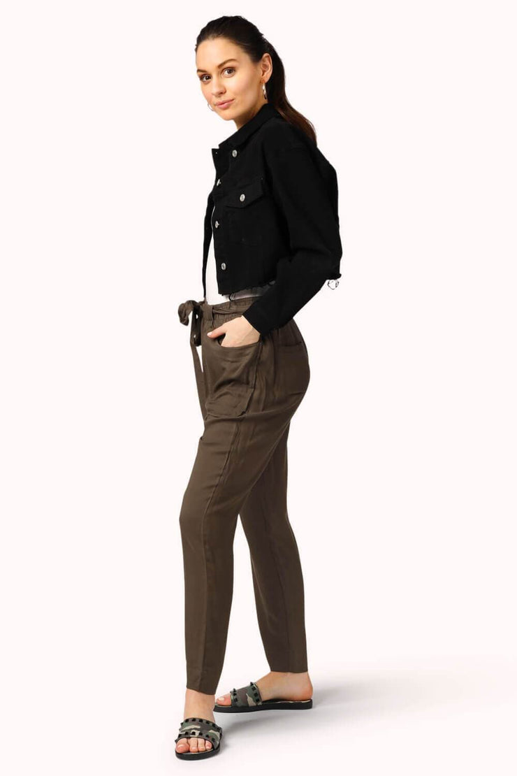 Cropped Tie Waist Pants Olive MILK MONEY