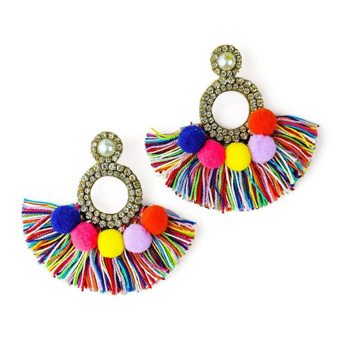 Crystal Pom Pom Fringe Earrings - MILK MONEY