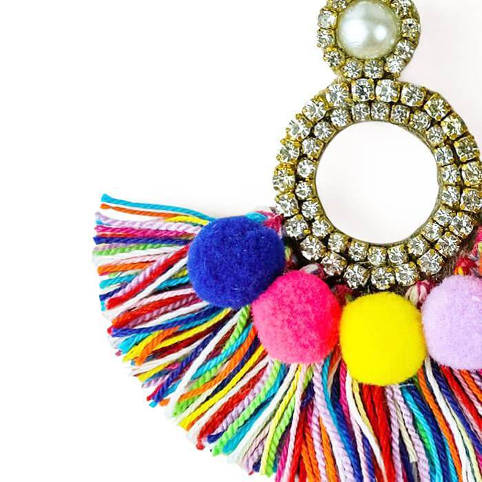 Crystal Pom Pom Fringe Earrings close up - MILK MONEY
