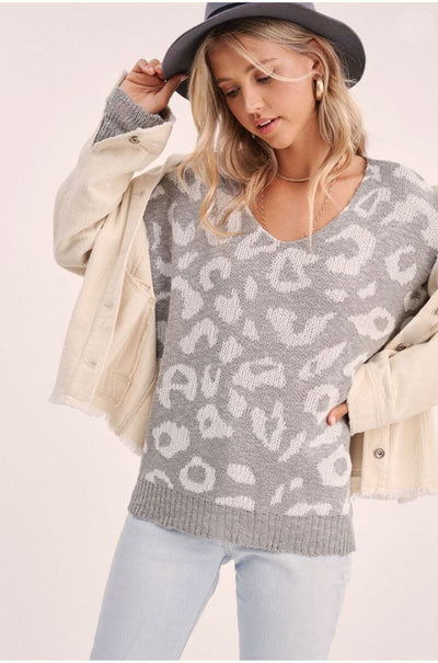 Cuddle Me Leopard Pullover grey front MILK MONEY