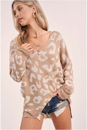 Cuddle Me Leopard Pullover taupe front MILK MONEY