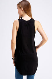 Curved Hem High Low Fashion Top black back MILK MONEY