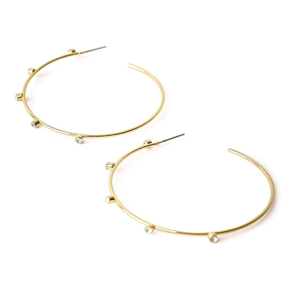 Harley Gold Crystal Studded Hoops Small - MILK MONEY