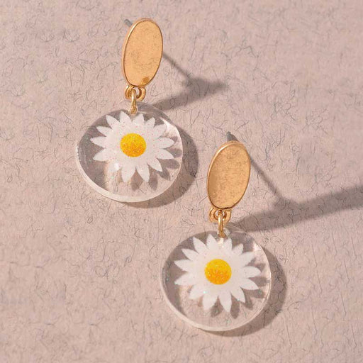 Women's Daisy Pressed Flower Resin Earrings | MILK MONEY | milkmoney.co