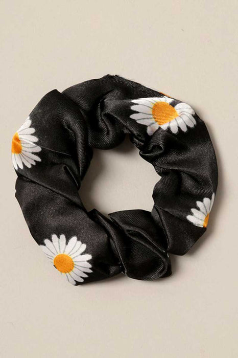 Daisy Print Silk Hair Scrunchies black  | MILK MONEY milkmoney.co | cute hair accessories. women's accessories. cute accessories. trendy accessories. cute accessories for girls. ladies accessories. women's fashion accessories.