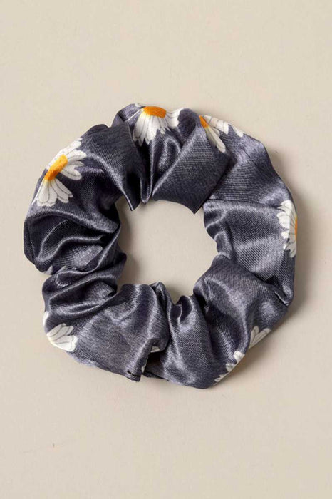 Daisy Print Silk Hair Scrunchies blue front | MILK MONEY milkmoney.co | cute hair accessories. women's accessories. cute accessories. trendy accessories. cute accessories for girls. ladies accessories. women's fashion accessories.