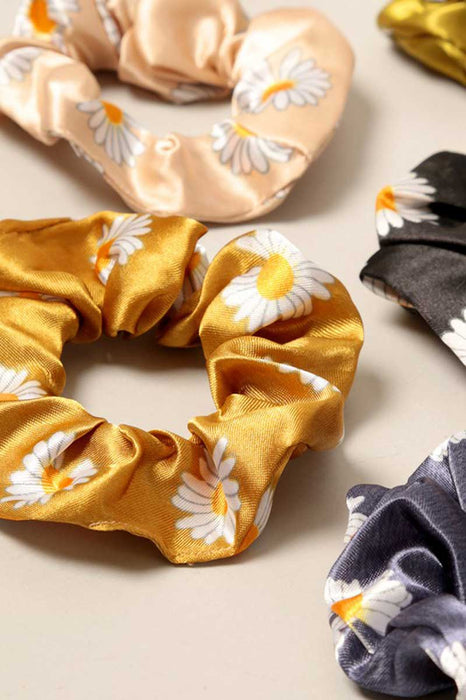 Daisy Print Silk Hair Scrunchies group | MILK MONEY milkmoney.co | cute hair accessories. women's accessories. cute accessories. trendy accessories. cute accessories for girls. ladies accessories. women's fashion accessories.