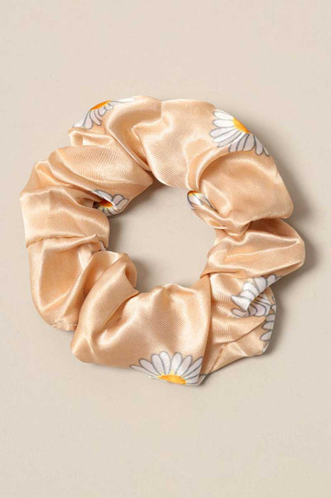 Daisy Print Silk Hair Scrunchies ivory front | MILK MONEY milkmoney.co | cute hair accessories. women's accessories. cute accessories. trendy accessories. cute accessories for girls. ladies accessories. women's fashion accessories.