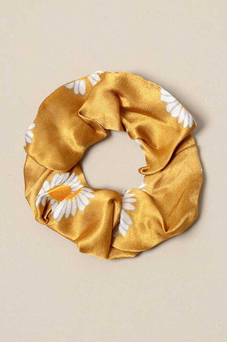 Daisy Print Silk Hair Scrunchies merigold front | MILK MONEY milkmoney.co | cute hair accessories. women's accessories. cute accessories. trendy accessories. cute accessories for girls. ladies accessories. women's fashion accessories.