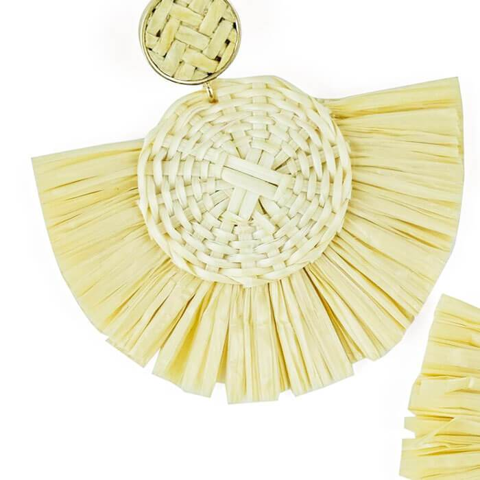 Daisy Raffia Earrings close up - MILK MONEY