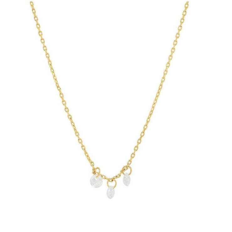 Delicate Chain Necklace with Three Floating CZ Stones by Tai Jewelry - MILK MONEY