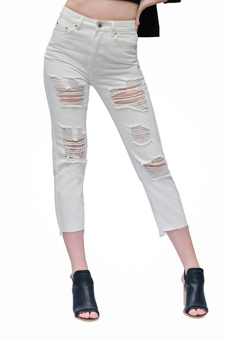 Distressed Boyfriend White Jeans - MILK MONEY