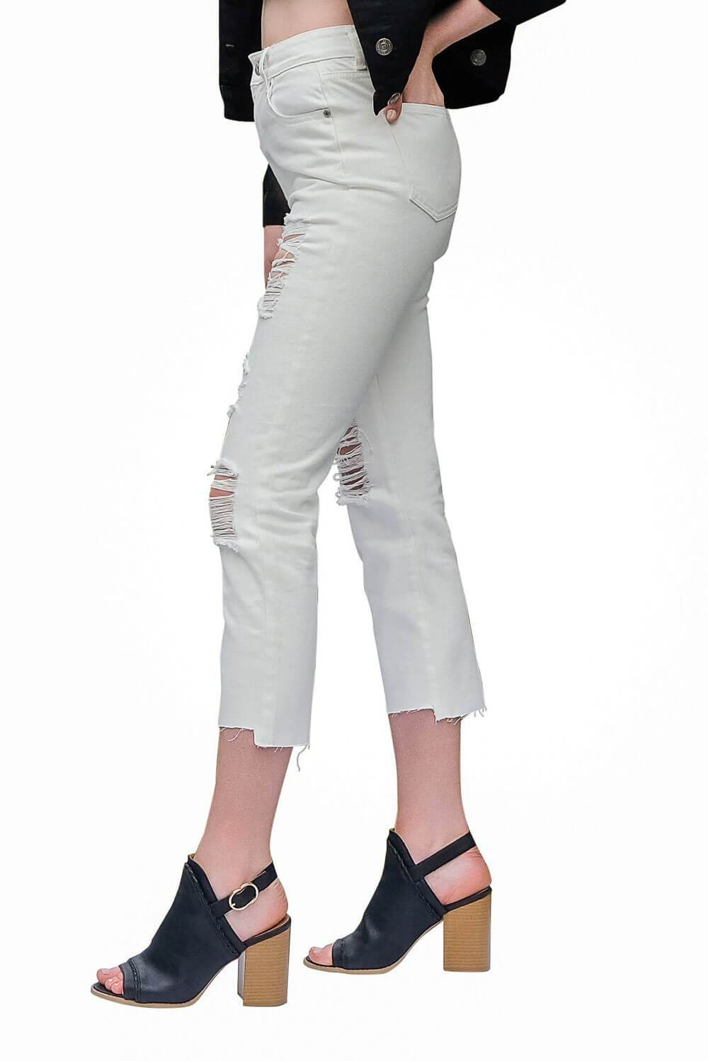 Distressed Boyfriend White Jeans side - MILK MONEY