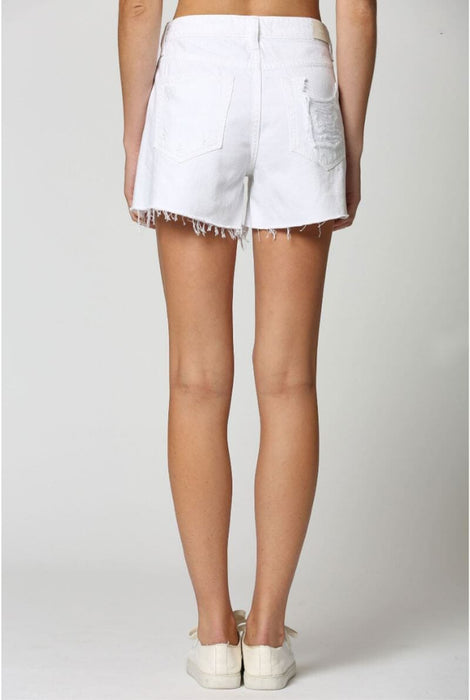 Distressed Side Slit Mom Shorts white back | MILK MONEY milkmoney.co | Summer denim short. Distressed denim shorts, perfect trendy denim.